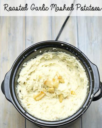 A Crock Pot Garlic Mashed Poatoes recipe via flouronmyface.com