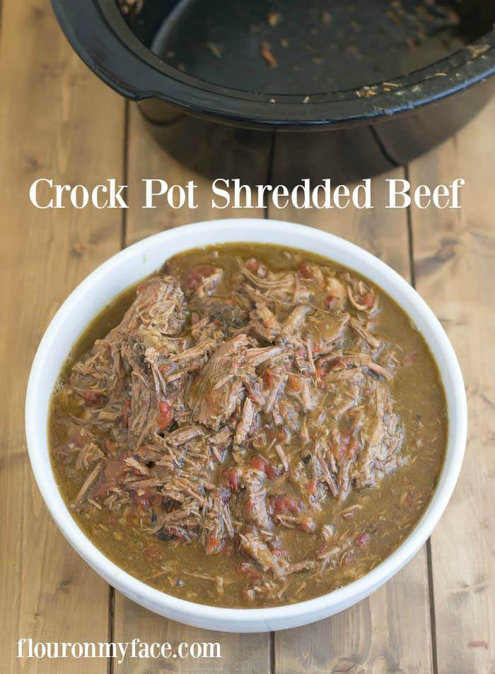 Crock Pot Shredded Beef recipe via flouronmyface.com