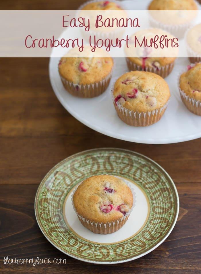 Easy Banana Cranberry Yogurt Muffin recipe via flouronmyface.com