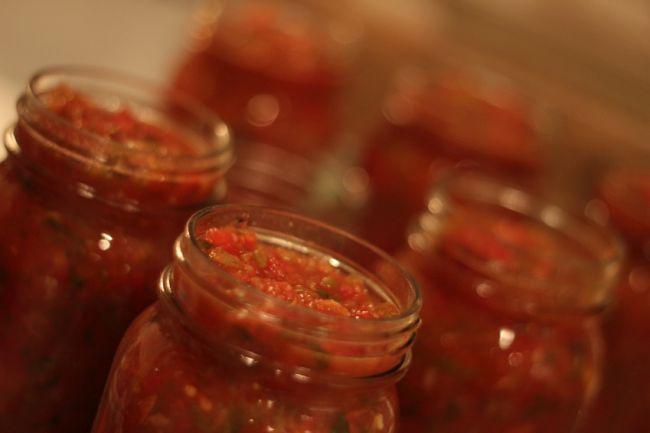 Homemade Canned Salsa recipe from salsa garden via flouronmyface.com