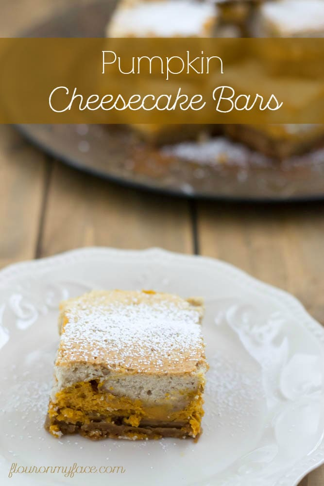 Pumpkin Cheesecake Bars recipe via flouronmyface.com