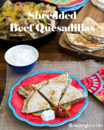 Shredded Beef Quesadillas recipe via flouronmyface.com
