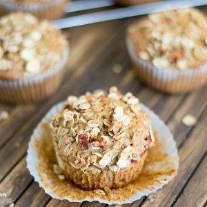 Apple Cinnamon Oat Olive Oil Muffin recipe via flouronmyface