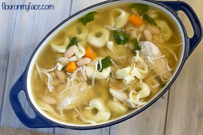 Homemade Chicken Tortellini Soup recipe via flouronmyface.com
