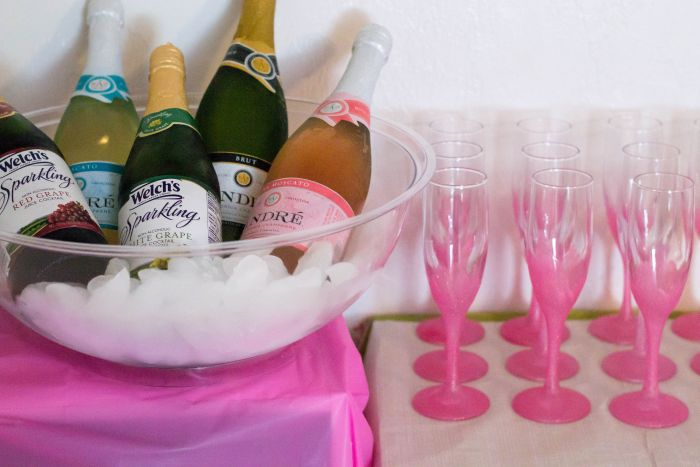 Chilled champagne and sparkling grape juice for a Easy DIY Mimosa Bar via flouronmyface.com