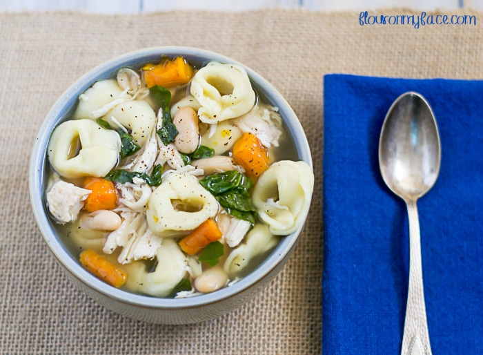 Crock Pot Chicken Tortellini soup recipe via flouronmyface.com