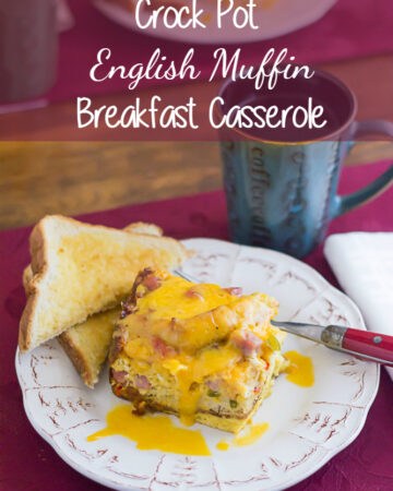 A wedge of English Muffin Casserole on a plate.