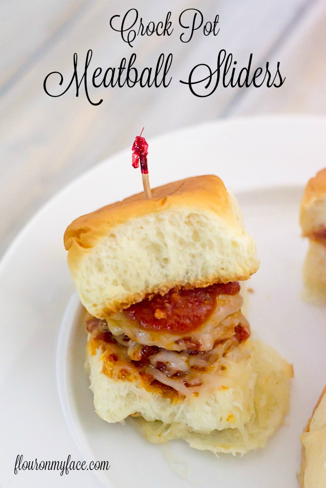Crock Pot Meatball SLiders recipe via flouronmyface.com