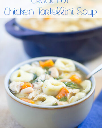 Warm up with this cheesy Crock Pot CHicken Tortellini Soup recipe via flouronmyface.com