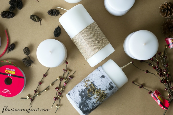 diy christmas candle decorating supplies via flouronmyfacecom - Christmas Candle Decorations