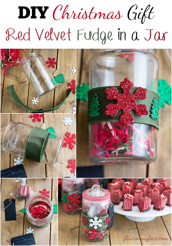 Wrap your homemade Christmas Fudge in these festive DIY Christmas Gift Jars via flouronmyface.com