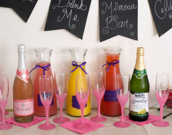 Easy DIY Mimosa Bar for a New Years Eve Party, Baby Shower or Girls Night in Party via flouronmyface.com