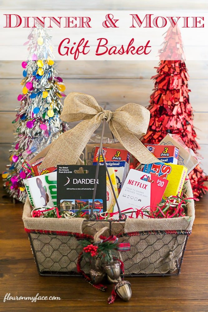 Dinner and Movie Gift Basket via flouronmyface.com - Christmas Gift Basket Ideas