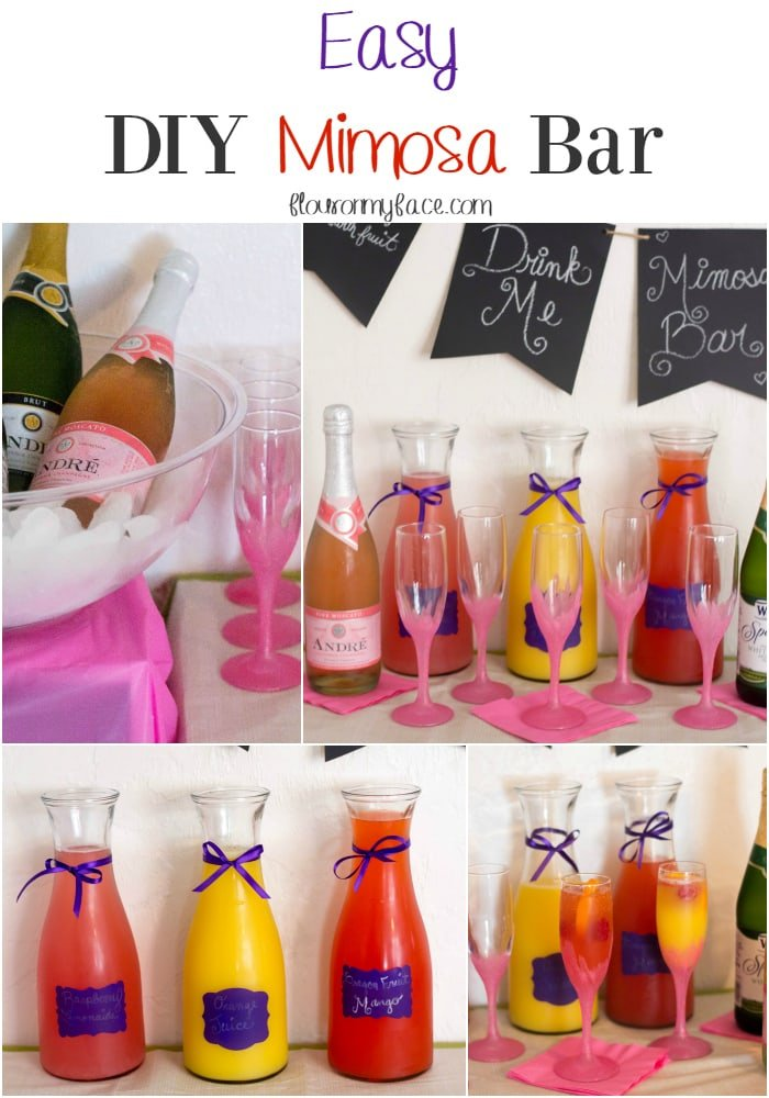 Easy DIY Mimosa Bar for a girl baby shower