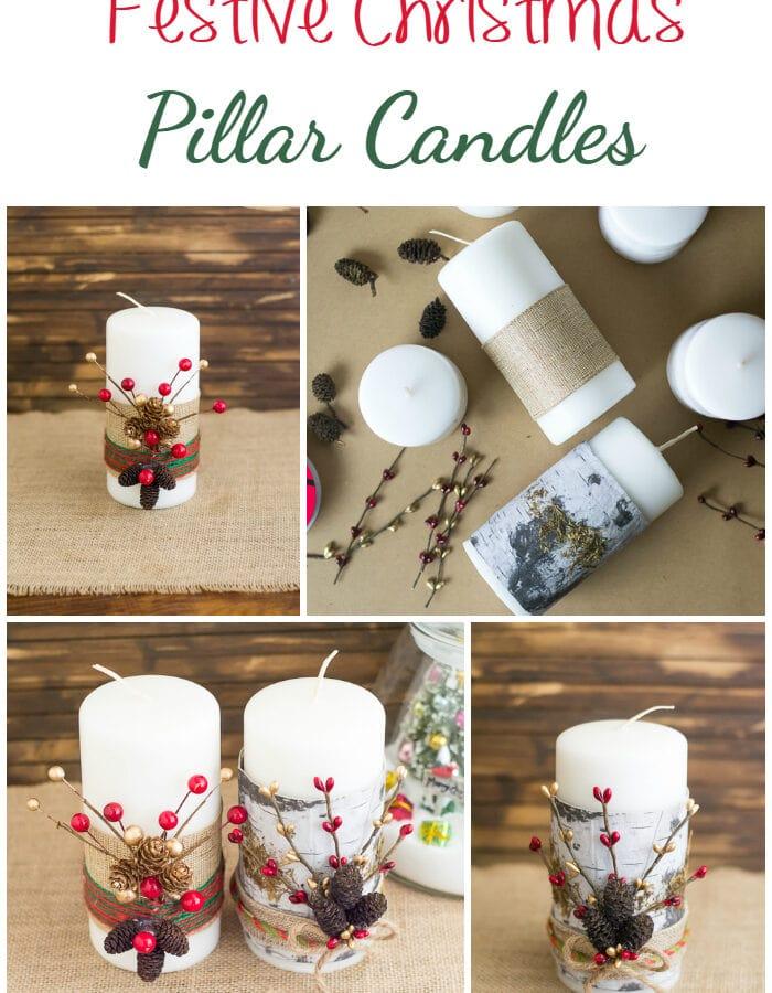 Make these easy Christmas decorations - Festive DIY Christmas Pillars candles via flouronmyface.com