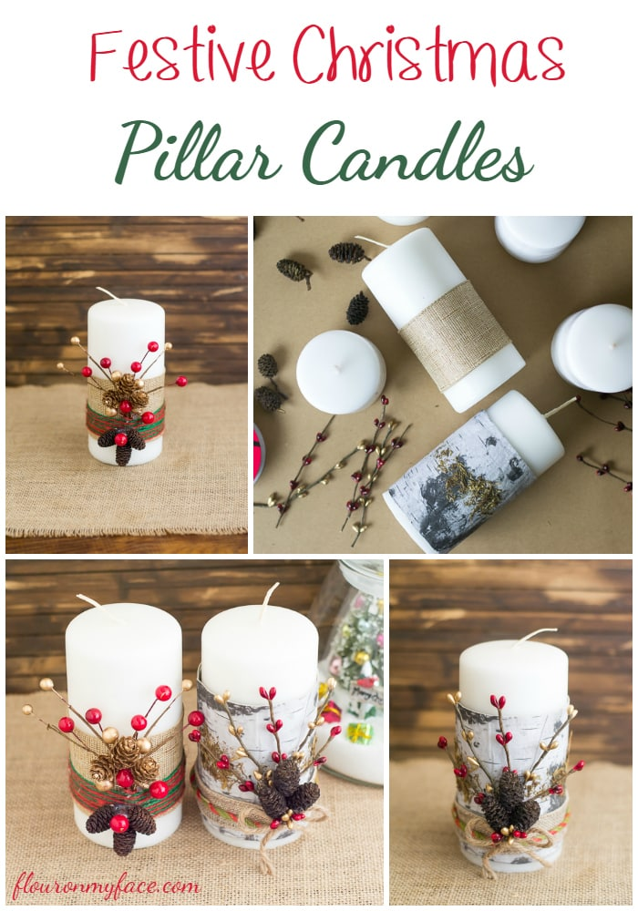 Make these easy Christmas decorations - Festive Christmas candles via flouronmyface.com