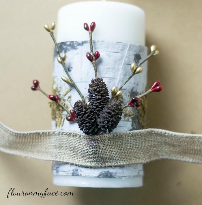 How to decorate Christmas Candles with ribbon via flouronmyface.com