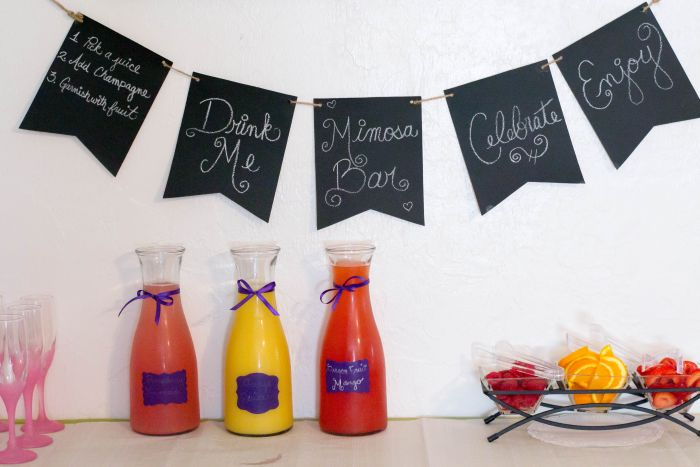 Chalkboard Mimosa Bar Banner for a DIY Mimosa Bar via flouronmyface.com