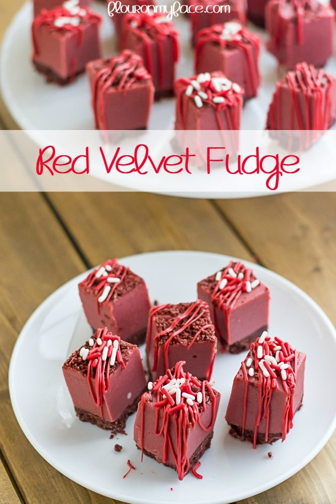 Red Velvet Fudge recipe via flouronmyface.com #SweetenTheSeason