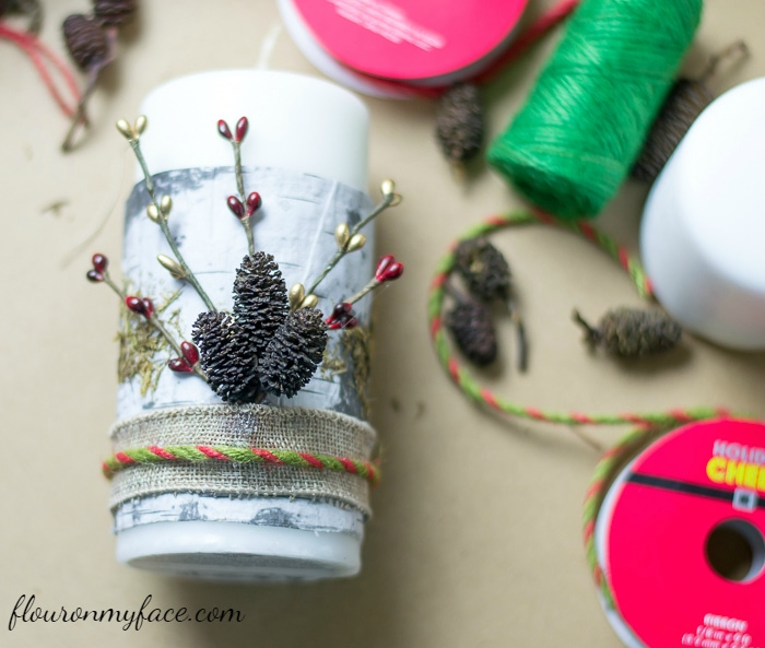 Wrapping Christmas Candles with ribbon via flouronmyface.com