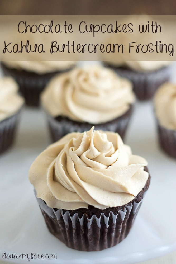 Chocolate Cupcakes with Kahlua Buttercream Frosting via flouronmyface.com