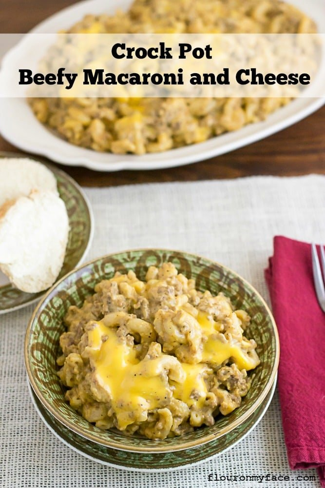 Crock Pot Beefy Macaroni and Cheese recipe tastes just like Cheeseburger Macaroni via flouronmyface.com