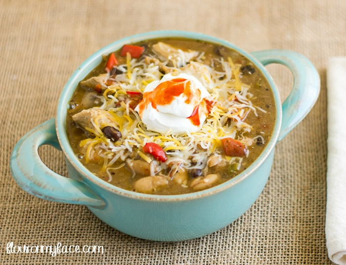 Crock Pot Chicken Chili recipe via flouronmyface.com