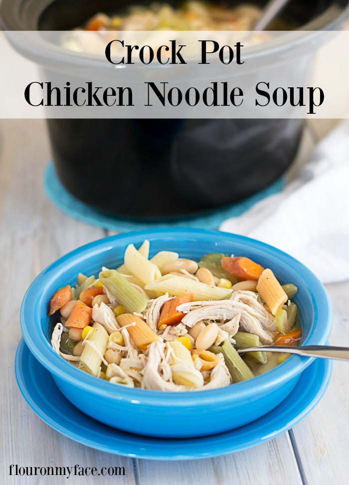 Chase away the winter blues with a big bowl of this Crockpot Chicken Noodle Soup recipe via flouronmyface.com