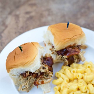2 Ingredient Crock Pot Hatch Chile Chicken Sliders recipe via flouronmyface.com