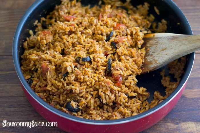Mexican Rice with Chorizo recipe via flouronmyface.com