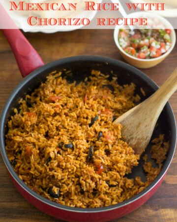 Mexican Rice with Chorizo recipe is perfect to serve along side your favorite Mexican recipes via flouronmyface.com