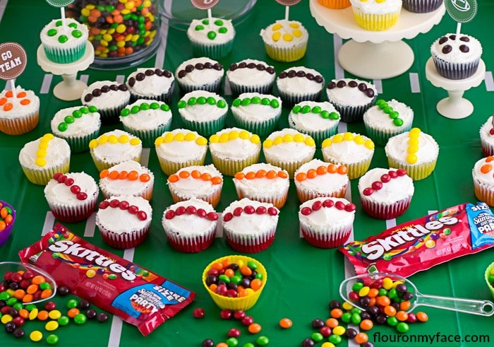 Skittles Game Day Cupcakes will brighten up your game day celebration via flouronmyface.com
