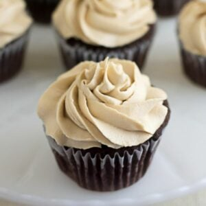 Closeup image of Chocolate Cupcakes with Kahlua Buttercream Frosting.