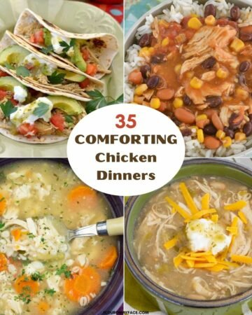 Four photo collage of chicken dinner recipes.