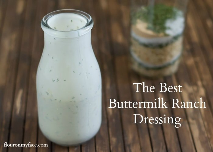 The best homemade Buttermilk Ranch Dressing you will ever taste via flouronmyface.com