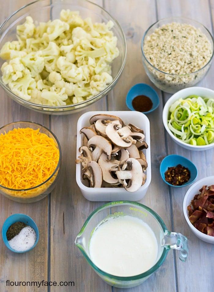Cauliflower, Leek and Crimini Mushroom Casserole recipe ingredients ...