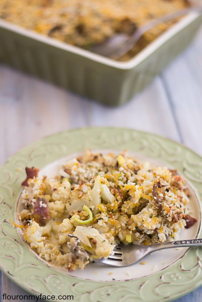 Cheesy comfort food makes me happy. This Cauliflower, Leek and Mushroom Casserole recipe has a little kick with some added red pepper. This recipe can be served as a meal or a side dish. I'm sharing this casserole recipe for the Chopped at Home Challenge- via flouronmyface.com