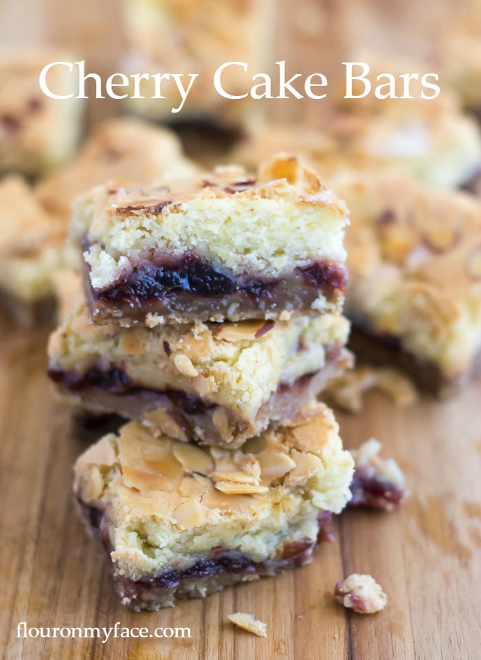 This old fashioned jam bar recipe is made with homemade cherry marmalade. It has 3 layers - a crust layer, a filling layer, a cake layer and a topping via flouronmyface,com