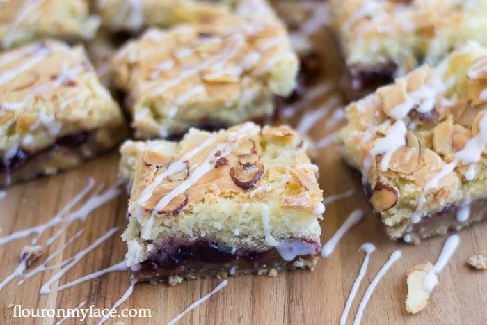 Cherry Cake Bars filled with homemade Cherry Marmalade via flouronmyface.com