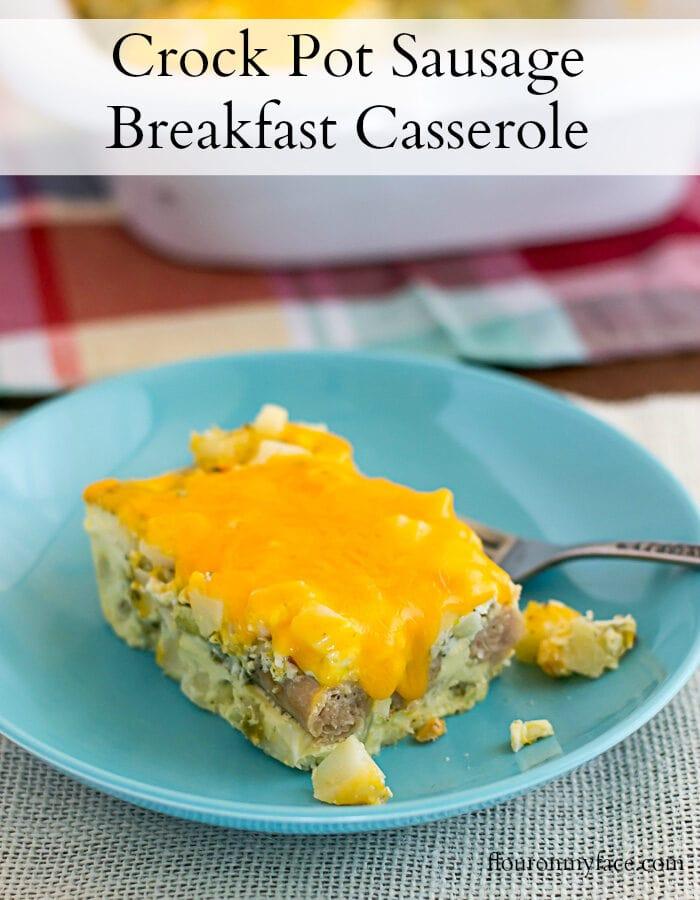Easy Crock Pot Sausage Breakfast Casserole recipe made with chicken sausage links via flouronmyface.com