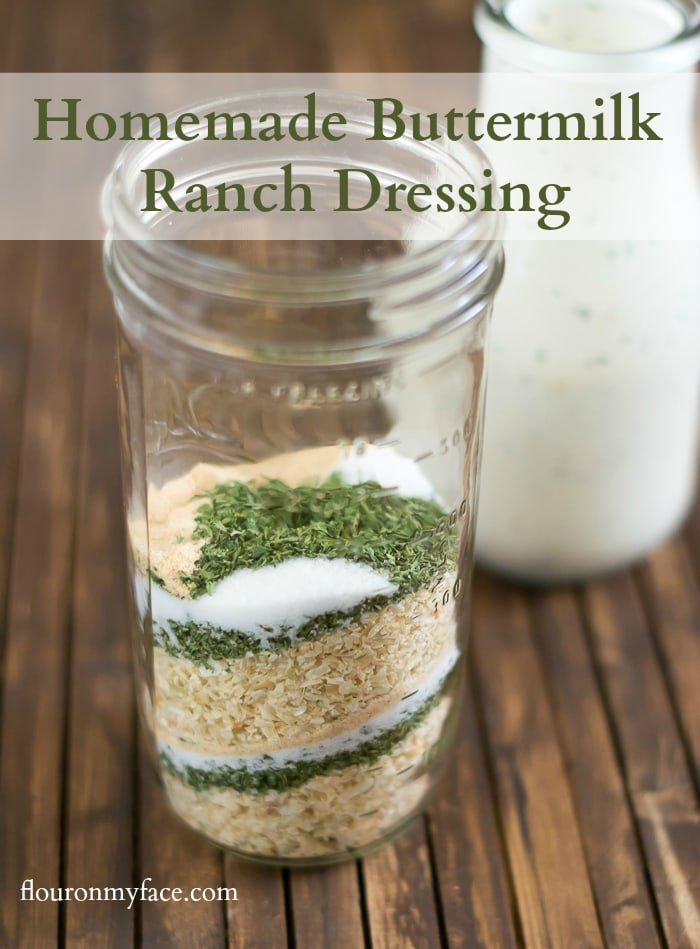 How to make Homemade Buttermilk Ranch Dressing recipe with a homemade ranch seasoning mix via flouronmyface.com