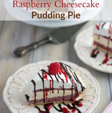 No-Bake Raspberry Cheesecake Pudding Pie recipe for #SundaySupper via flouronmyface.com