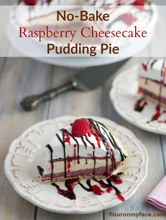 No-Bake Raspberry Cheesecake Pudding Pie recipe for #SundaySupper via flouronmyface.com
