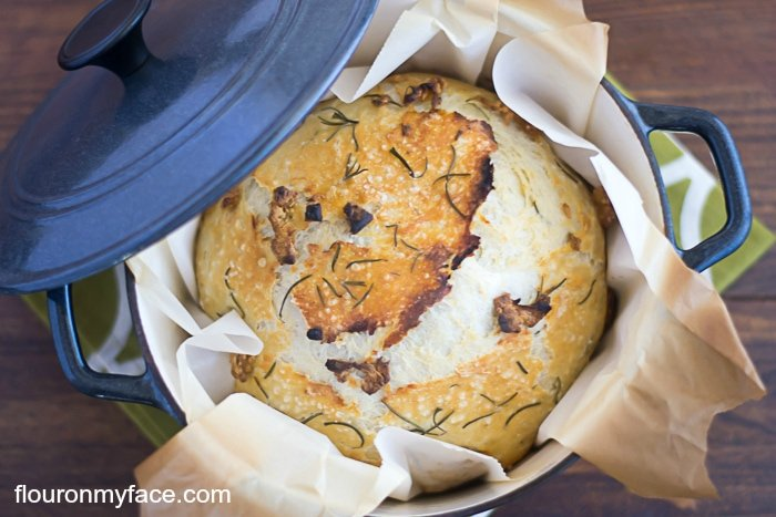 Rosemary Garlic No-Knead Bread Recipe baked in a dutch oven