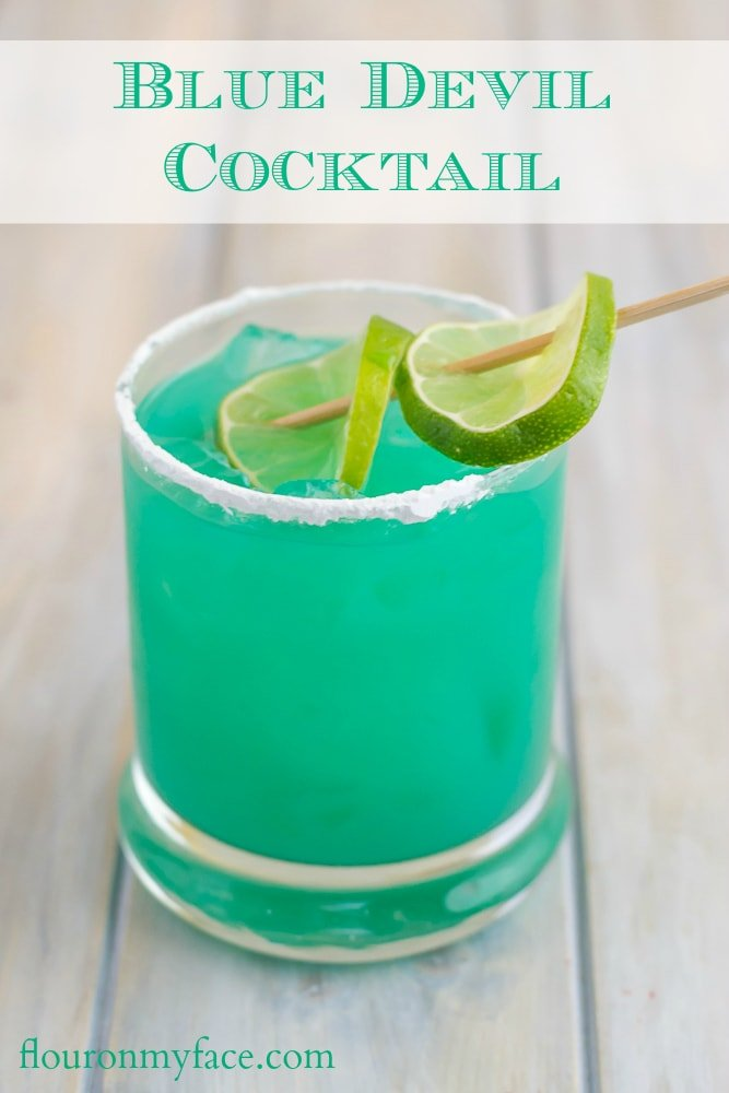 How to make a Blue Devil cocktail made with Blue Curacao and Bacardi rum via flouronmyface.com