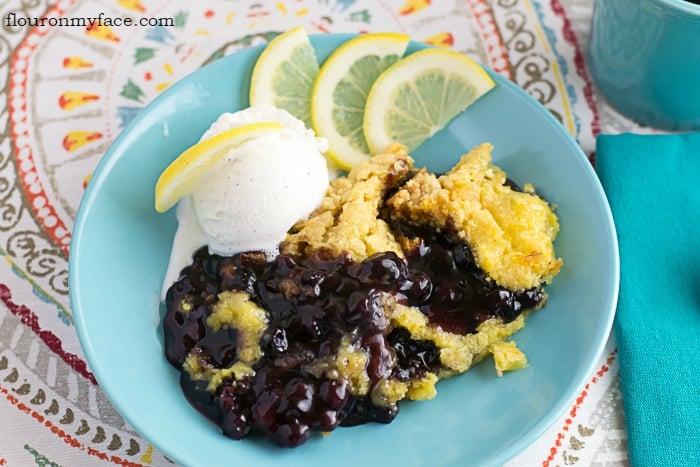 Crock Pot Blueberry Lemon Cake recipe via flouronmyface.com