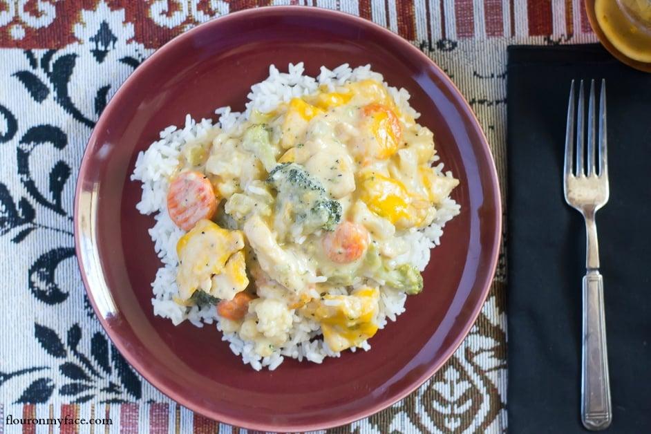 Crock Pot Chicken Vegetables recipe via flouronmyface.com