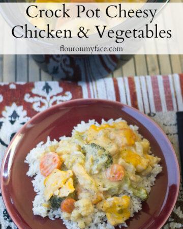 Creamy and Cheesy Crock Pot Cheesy Chicken Vegetables recipe via flouronmyface.com