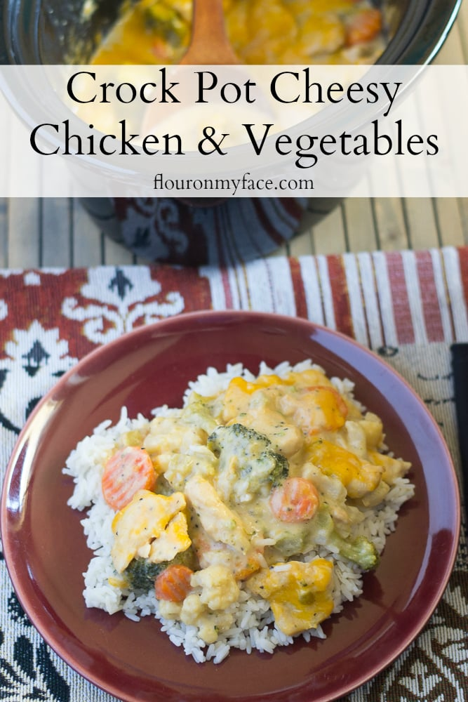 Easy 5 ingredient Creamy and Cheesy Crock Pot Cheesy Chicken Vegetables recipe via flouronmyface.com