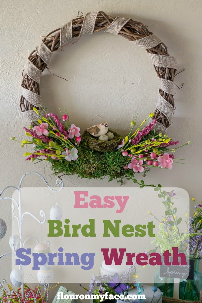 Easy DIY Bird Nest Spring Wreath via flouronmyface.com